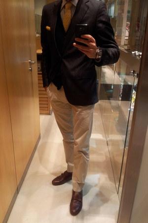 navy Zara blazer - brown double monk Zara shoes - navy Springfield cardigan