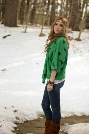 green unicorn cardigan - fringe boots - jeggings jeans - pocket tank shirt