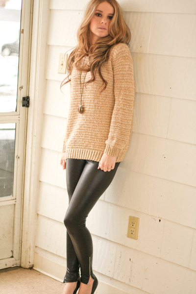oversized sweater - faux leather leggings - stopwatchclock necklace - ring