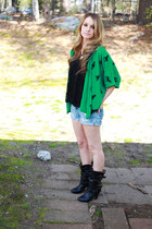 unicorn green cardigan - cuffed shorts - vintage necklace - lace swing top top