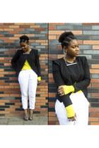 black H&M blazer - yellow COS top - white H&M pants - silver COS necklace