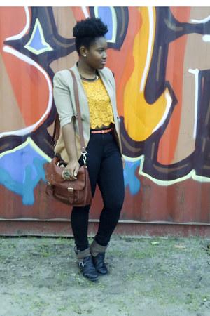 mustard Monki top - black River Island boots - beige H&M blazer
