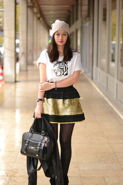 Manoush skirt - andré boots - black pleather asos bag - Zara jumper
