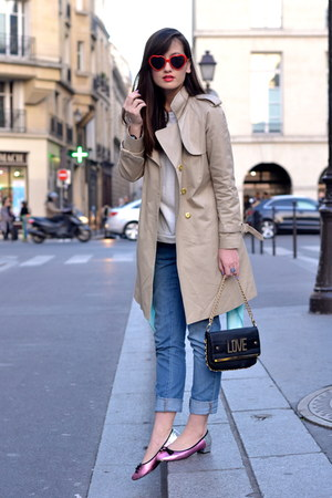 black love River Island bag - beige trench Manoush coat