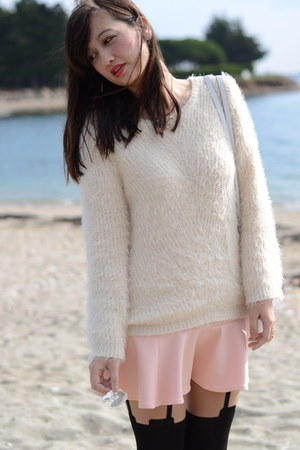 fluffy H&M jumper - House of Holland tights - Pimkie skirt
