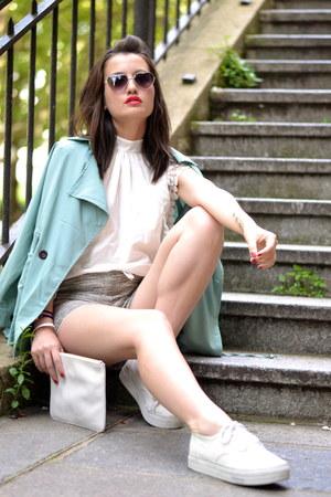 green trench Sheinsidecom jacket - white clutch Kate Lee bag