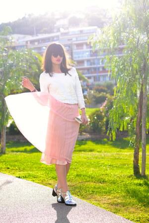 pink net Dorothy Perkins skirt - white Suncoo jumper
