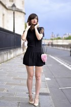 black silk Lulu Yasmine dress - pink heart H&M bag - shiny nude Zara heels