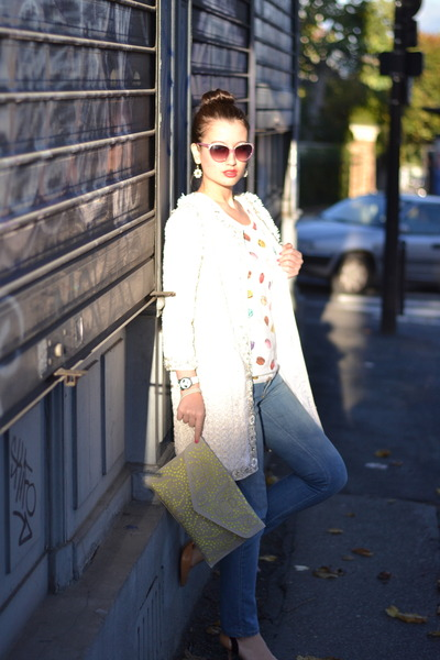 white sparkle Manoush coat - neon Primark bag - purple sparkle asos sunglasses