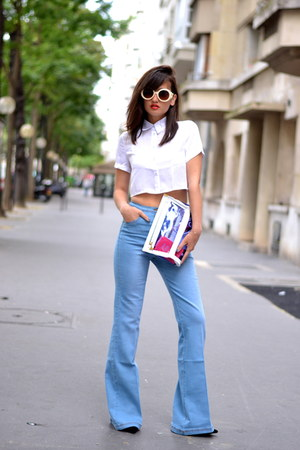 blue denim Missguided jeans - white Missguided shirt