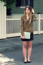 brown vintage blouse - black Forever 21 skirt - blue H&M purse - black Zara shoe