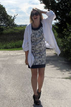 black vintage sunglasses - white thrifted shirt - blue BCBG dress - black Bakers