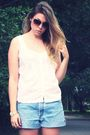 Brown-kenneth-cole-sunglasses-white-thrifted-blouse-blue-levis-shorts-gold