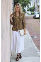 light brown vintage blouse - ivory vintage purse