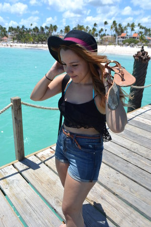 black hat with bow Charming Charlie hat - navy denim shorts garage shorts