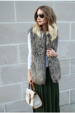 white BCBG shirt - dark brown faux fur vest Forever 21 vest