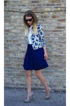 black oversized Ray Ban sunglasses - American Apparel blouse - Forever21 skirt