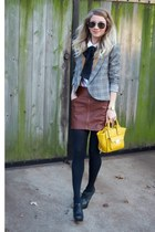 heather gray plaid blazer Willow & Clay blazer - white H&M blouse