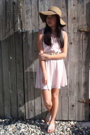 light pink H&M dress - camel Forever 21 hat - white American Eagle sandals