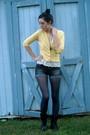Yellow-george-cardigan-cream-thrifted-blouse-black-abbey-dawn-shorts-black