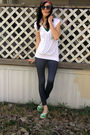 Red-accessories-green-top-white-t-shirt-blue-leggings-green-roxy-shoes