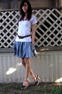 White-threads-for-thought-t-shirt-blue-thrifted-dress-brown-thrifted-belt-