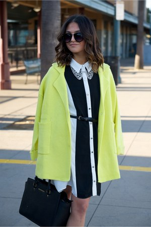 yellow retro swing Forever 21 coat - shirt Forever 21 dress