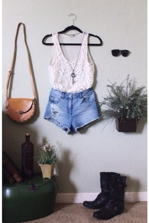 white Forever 21 shirt - camel thrifted bag - light blue denim asos shorts