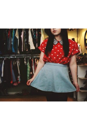 light blue denim Target skirt - red thrifted shirt - black Forever 21 necklace
