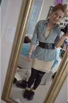black Express boots - cream lace H&M dress - light blue denim Target shirt