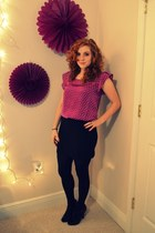 magenta tommy girl blouse - black tesco tights - black tesco heels