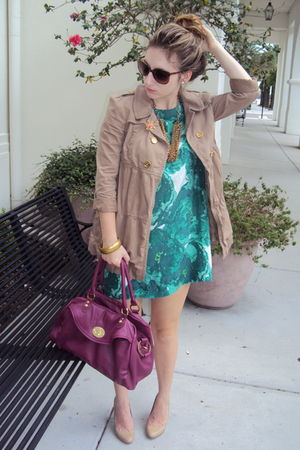 green banana republic dress - brown Juicy Couture jacket - beige Target shoes