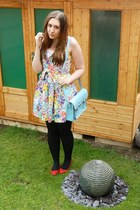 floral print new look dress - flats pointed new look shoes - Zatchels bag