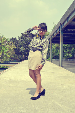 black wedges - army green shirt - beige skirt - gray belt - gold homemade tie