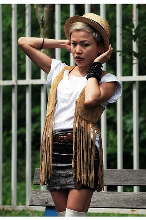 white Pagoda-Eagle top - brown Vero Moda vest - heather gray TiCFleaMarket skirt
