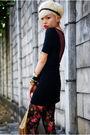 Black-topshop-dress-brown-vero-moda-vest-red-h-m-stockings-black-aldo-shoe