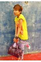 yellow RandomStore-Taiwan top - purple RandomStore-Taiwan leggings - purple Mulb
