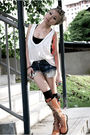 blue cut off Levis shorts - orange Shnaghai shoes - gray bra DIY intimate