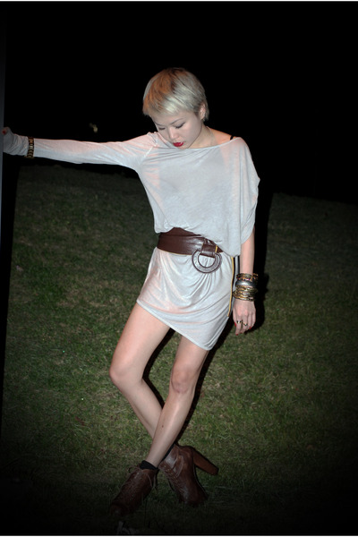 heather gray RandomVenderInBali dress - bronze Aldo belt - dark brown Jeffrey Ca