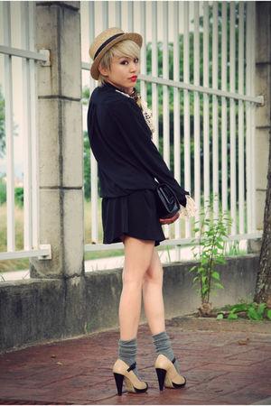 black Mums dress - brown brothers belt - gray Uniqlo socks - beige taiwan hat -