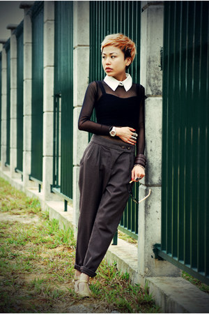 black mesh American Apparel dress - dark brown Topshop pants - gold glitter Meli