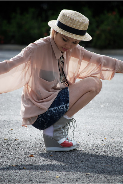 beige boater taiwan hat - heather gray taiwan wedges - blue high-waisted Haji La