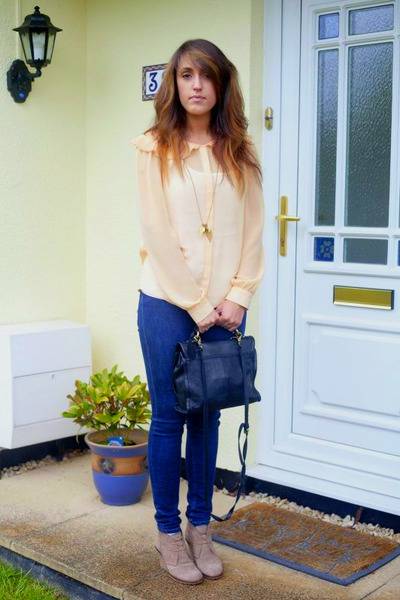light orange pleated collar Topshop shirt - navy French Connection jeans