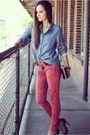 Salmon-skinny-articles-of-society-jeans-blue-chambray-dailylook-shirt