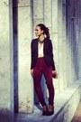 Black-topshop-blazer-maroon-in-my-air-pants-white-crop-top-luna-b-top