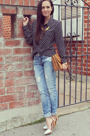 black polka-dots Popbasic top - blue boyfriend Zara jeans