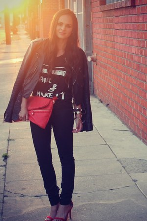 black wax Articles of Society jeans - ruby red Dailylook bag