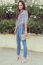 Blue-skinny-rich-skinny-jeans-jeans-silver-caged-clutch-dailylook-bag