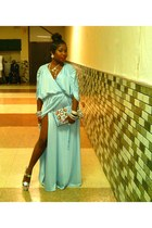 light blue Vintage thrift dress - H&M bag - silver Nine West heels