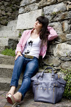 blue liu jo jeans - white Whos who top - pink vintage jacket - pink cesare pacio